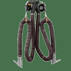 Double exhaust hose drop system
